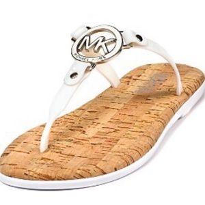 Michael Kors White Jelly Medallion Cork Sandals